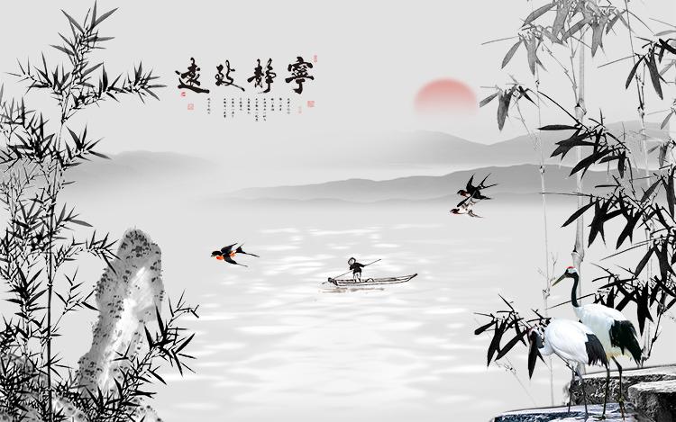 xl-3253 宁静致远竹子燕子山水国画背景
