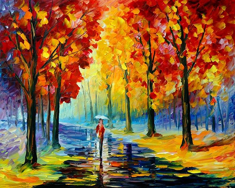 xxl-8954 油画风景树林小路简约图