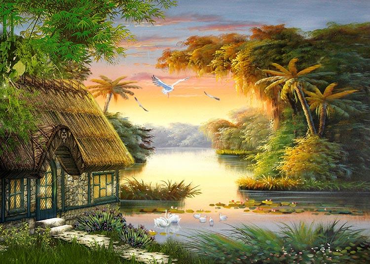 xxl-33719山水树林小屋天鹅油画风景图