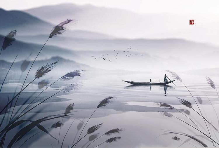 新中式水墨山水芦苇意境船只背景墙装饰画