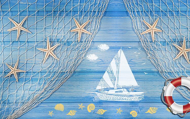 最新素材 02>02 渔网木板救生圈手绘海星帆船背景墙装饰画
