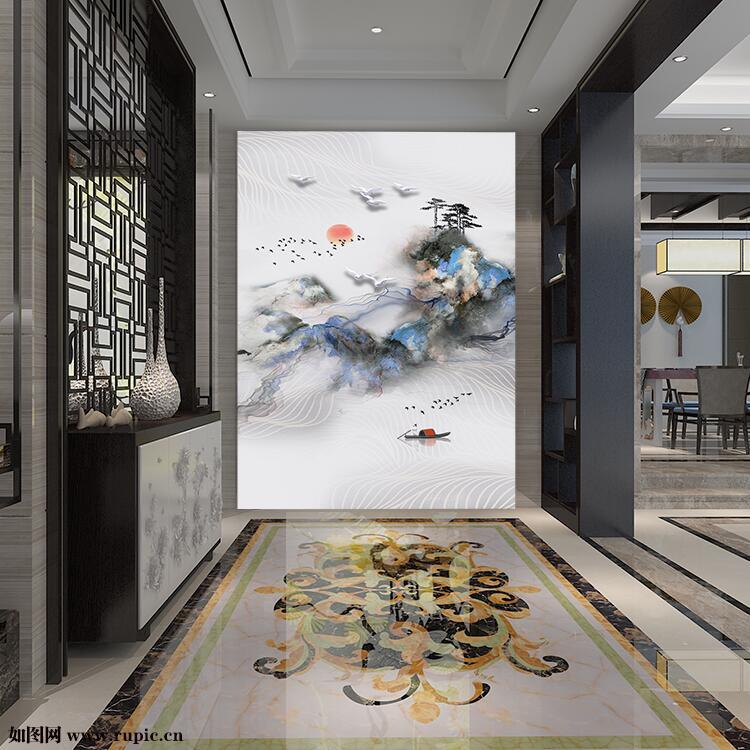 新中式水墨山水树木小船海鸥燕子线条玄关装饰画