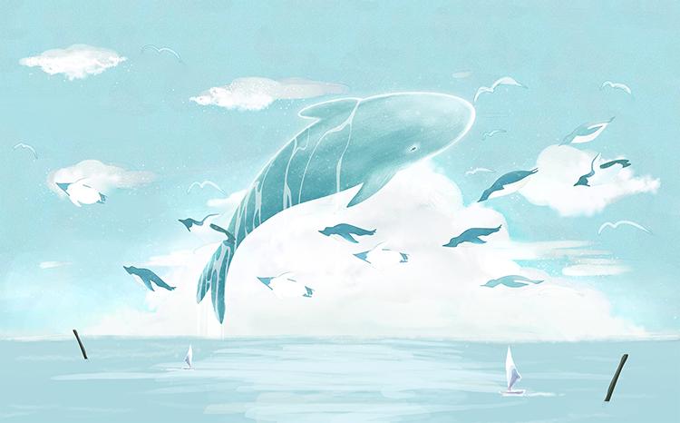 儿童卡通手绘蓝天白云大海小船鲸鱼背景